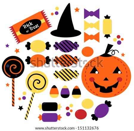Halloween cute sweet Candy collection isolated on white - stock vector