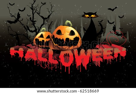 halloween 3d text vector
