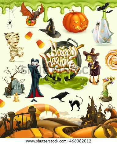 Halloween 3d vector icons. Pumpkin, ghost, spider, witch, vampire, zombie, grave, candy corn. Set of cartoon characters and objects, greetings text Happy Halloween for invitation cards and posters