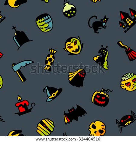 Halloween dark seamless pattern - stock vector