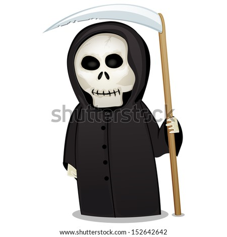 Halloween Death costume figure with a scythe isolated on white