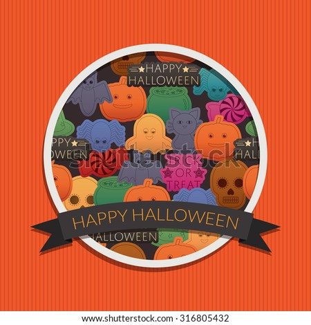 halloween decoration greeting card with frame and ornaments - stock vector