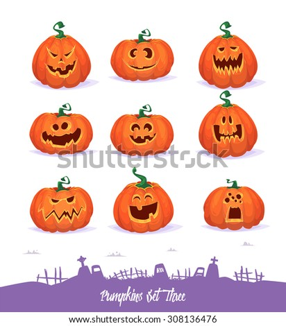 Halloween decoration Jack-o-Lantern set and cemetery background. Pumpkins designs with different facial expressions - stock vector