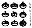 Halloween decoration Jack-o-Lantern silhouette set.  Carved pumpkin designs with different facial expressions, from silly to happy to scary. - stock vector