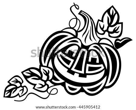 Halloween decoration Jack-o-Lantern silhouette.  Vector clip art. - stock vector