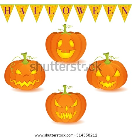 Halloween decoration Jack O' Lantern vector set on white background. Pumpkins designs with different facial expressions. Could be used as icons or separate design elements. - stock vector