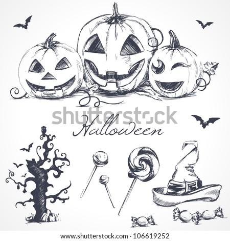 Halloween design elements - stock vector