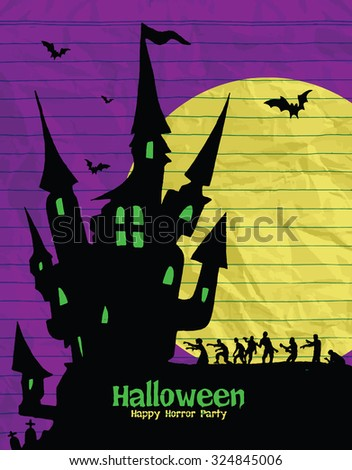 Halloween design template. Spooky landscape with castle, Zombie & Grim reaper. Vector illustration