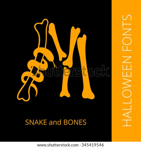 Halloween design vector font letter M consist of snake and bones. Spooky and Magical Alphabet - stock vector