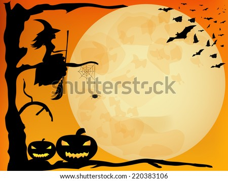 Halloween  design - witch, pumpkins, spider and bats on orange moon background - stock vector