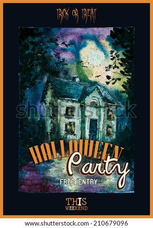 Halloween design with haunted house. Watercolor. Vector illustration - stock vector