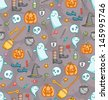 Halloween doodle seamless pattern with bunch of creepy sweet symbols in color - stock vector