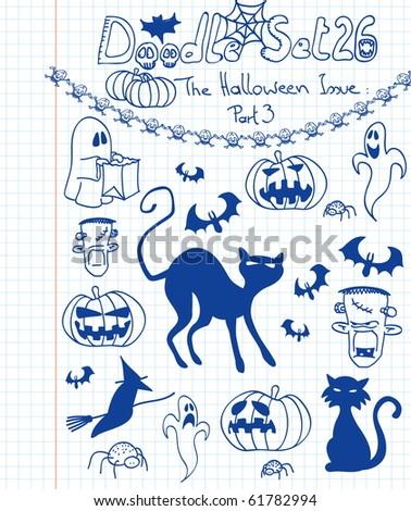 Halloween doodle set - stock vector