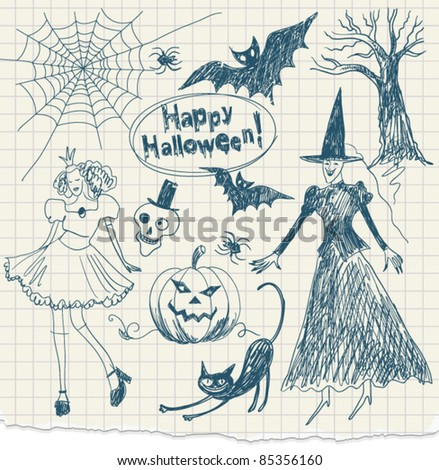 Halloween doodles, hand drawn - stock vector