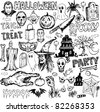 Halloween elements collection hand drawn vector doodles - stock vector