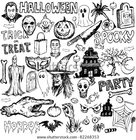 Halloween elements collection hand drawn vector doodles