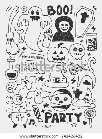 Halloween elements doodles hand drawn line icon, eps10 - stock vector
