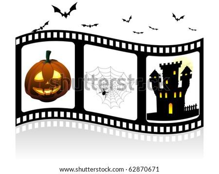 Halloween elements on the filmstrip - stock vector