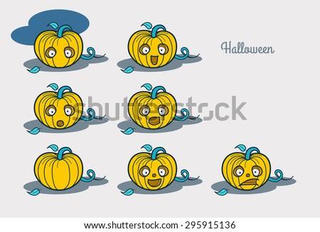 Halloween. Emotions characters pumpkin.  - stock vector