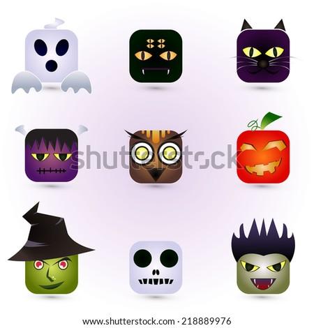 Halloween Faces - stock vector