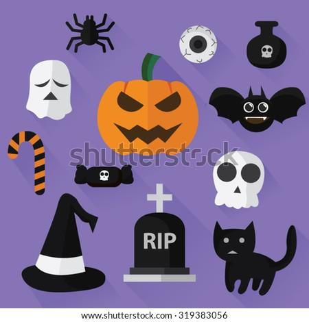Halloween flat design icon - stock vector