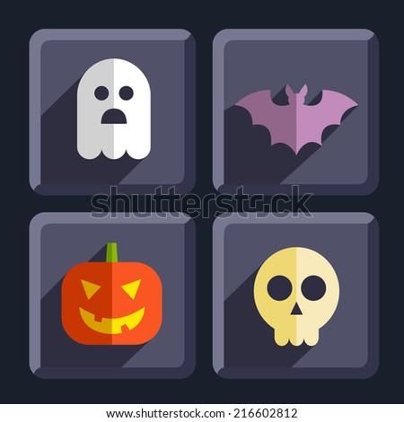 Halloween flat icons badges set - stock vector