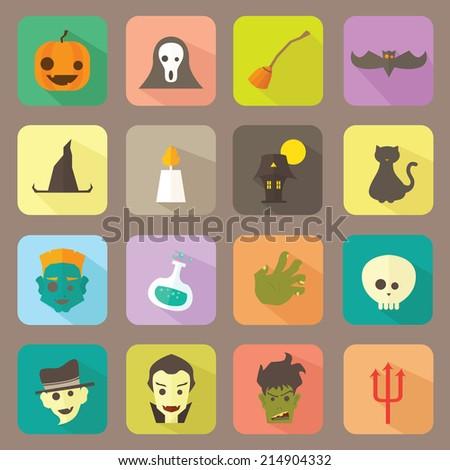 Halloween Flat Icons Vector Set - stock vector