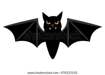halloween flying bat isolated on white stock vector 478323142 rh shutterstock com Scary Bat Drawings Scary Bats Halloween