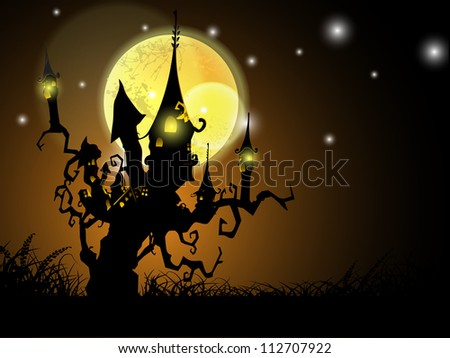 Halloween full moon night background with haunted house on a dead tree. EPS 10. - stock vector