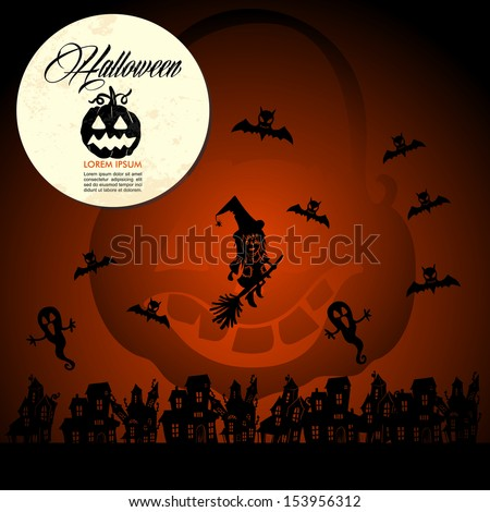 Halloween full moon pumpkin flying witches and bats, customizable text. EPS10 Vector file organized in layers for easy editing. - stock vector