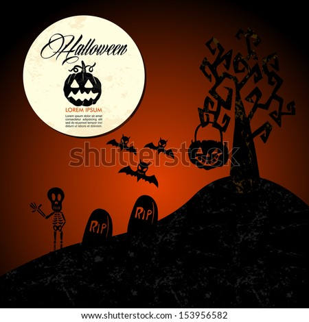 Halloween full moon pumpkin spooky cemetery, customizable text. EPS10 Vector file organized in layers for easy editing. - stock vector