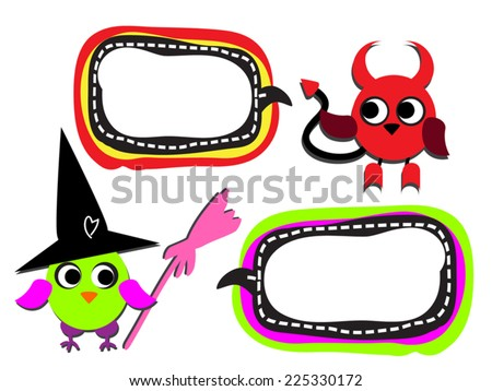 Halloween funny monsters with bubbles. Colorful cute owl dressed as witch and devil with comic box for text. Vector silhouette. Isolated on white. As design element, clip art. - stock vector