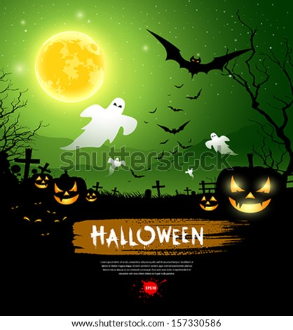 Halloween ghost design background, vector illustration - stock vector