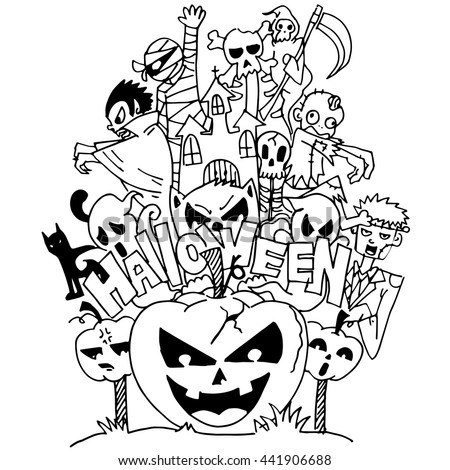 halloween ghost doodle art with hand draw - Halloween Images To Draw