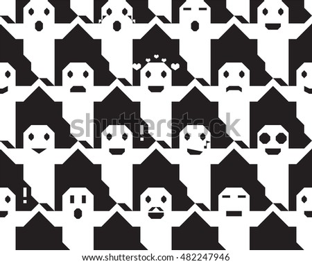 Halloween ghost face vector seamless texture black