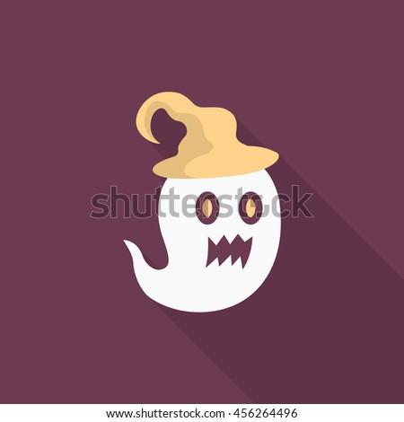 Halloween ghost icon, Vector flat long shadow design. Halloween concept. - stock vector
