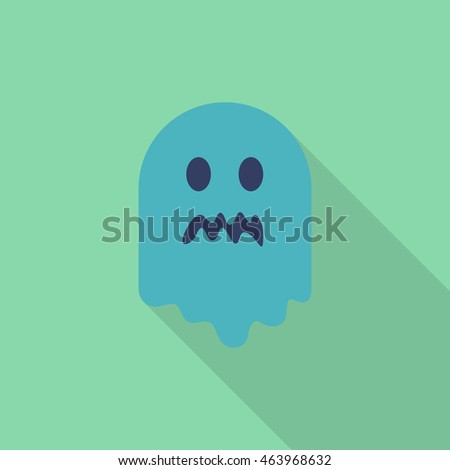 Halloween ghost icon, Vector flat long shadow design. Halloween concept.