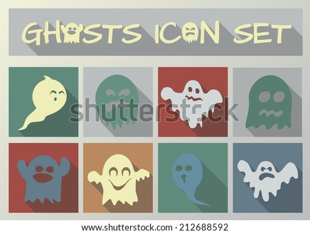 Halloween ghosts vector icon set - stock vector