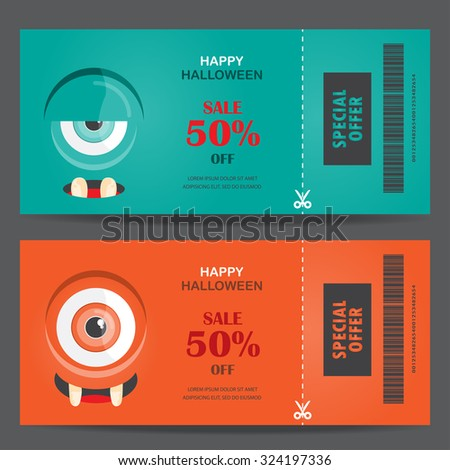 halloween gift voucher certificate coupon, mo invitation party card, background, web page design template. vector illustration; - stock vector