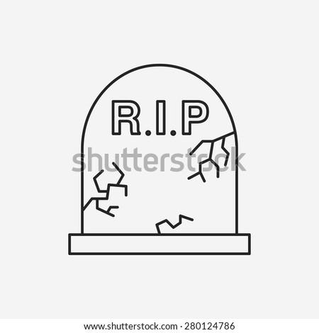 halloween grave line icon - stock vector