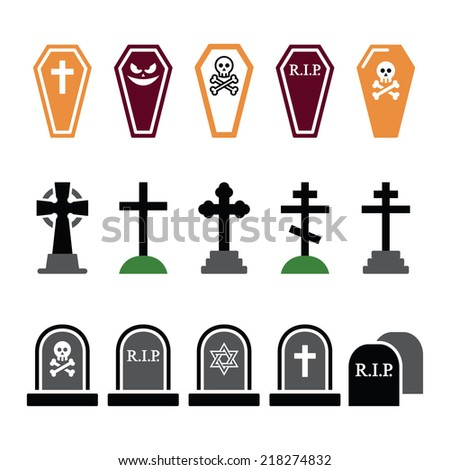 Halloween, graveyard colorful icons set - coffin, cross, grave  - stock vector