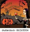 halloween greeting card - stock vector