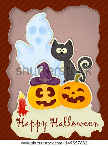 Halloween greeting card formed from paper with place for Your text.