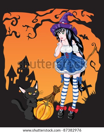 Halloween Greeting Card vector illustration. Young witch girl with black cat.