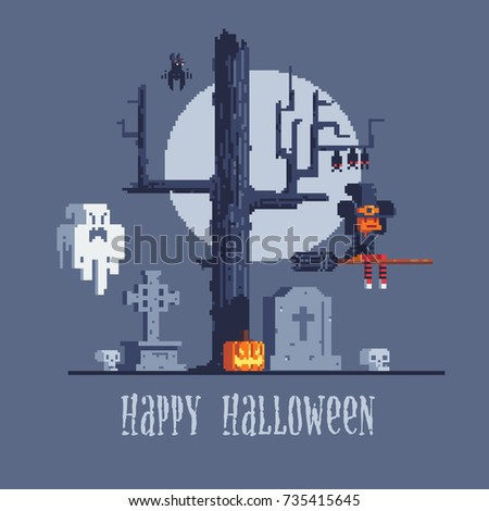 Halloween Greeting Card, Witch And Ghost, Background With Scary Tree, Pixel  Art Style
