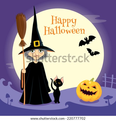 Halloween greeting card: witch, black cat, pumpkin and bats.