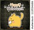 Halloween greeting card with cartoon kitty. Vector illustration. - stock vector