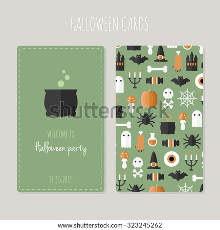 Halloween greeting cards. Scary Halloween backdrop. Horror objects on green background. Bright funny party card. Cute pattern. - stock vector