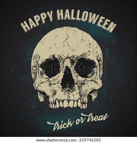 Halloween Greetings Poster Design Hand Drawn Stock Vector ...