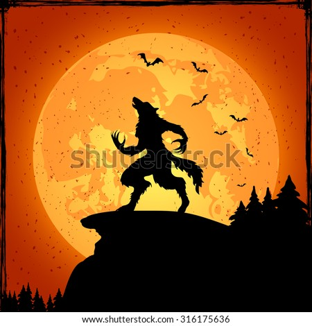 Halloween grunge background with werewolf and orange moon, illustration. - stock vector